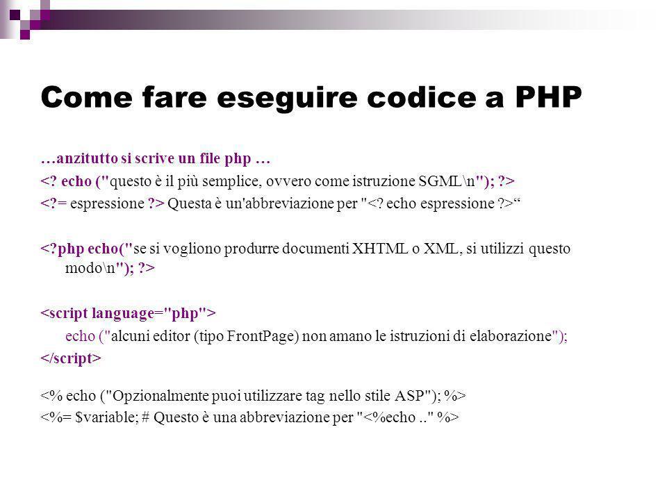 Come fare eseguire codice a PHP