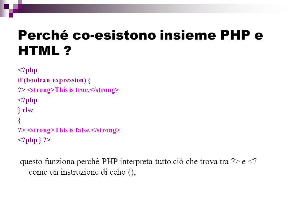 Perché co-esistono insieme PHP e HTML