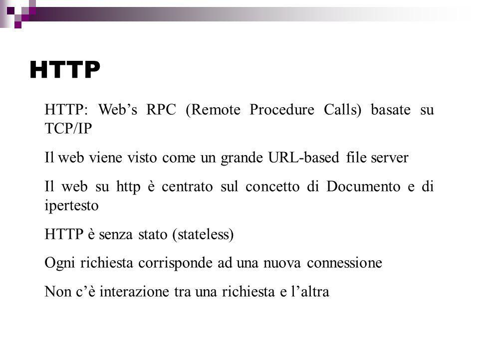 HTTP HTTP: Web's RPC (Remote Procedure Calls) basate su TCP/IP