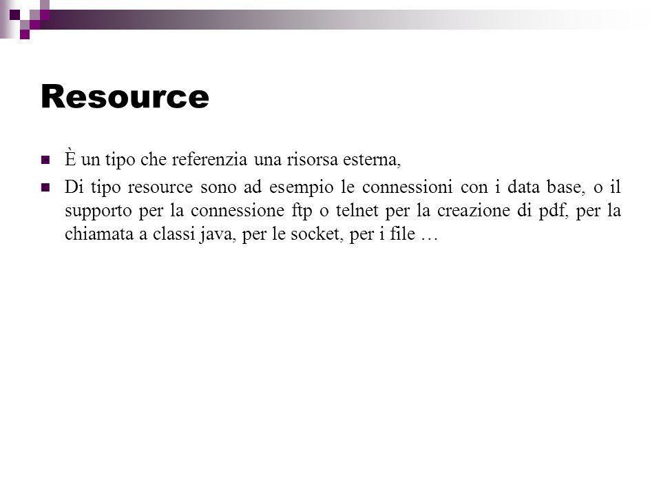 Resource È un tipo che referenzia una risorsa esterna,