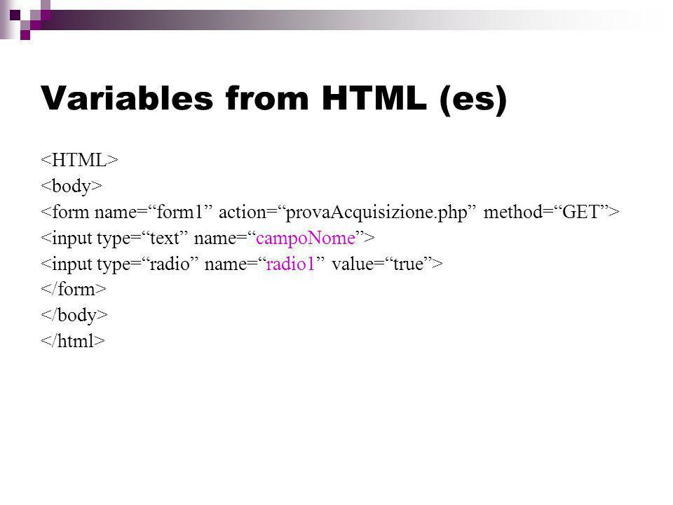 Variables from HTML (es)