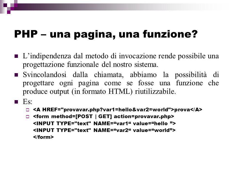 PHP – una pagina, una funzione