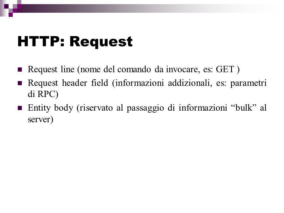 HTTP: Request Request line (nome del comando da invocare, es: GET )