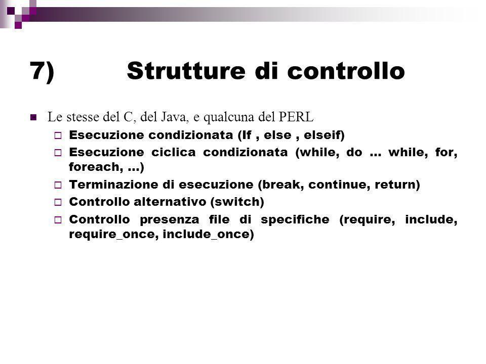 7) Strutture di controllo