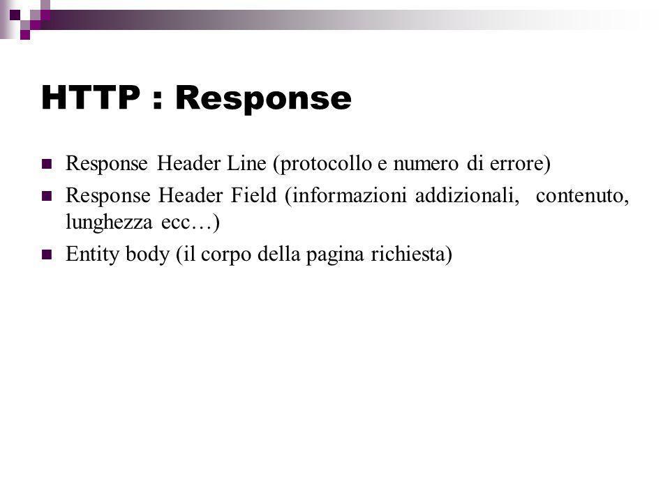 HTTP : Response Response Header Line (protocollo e numero di errore)