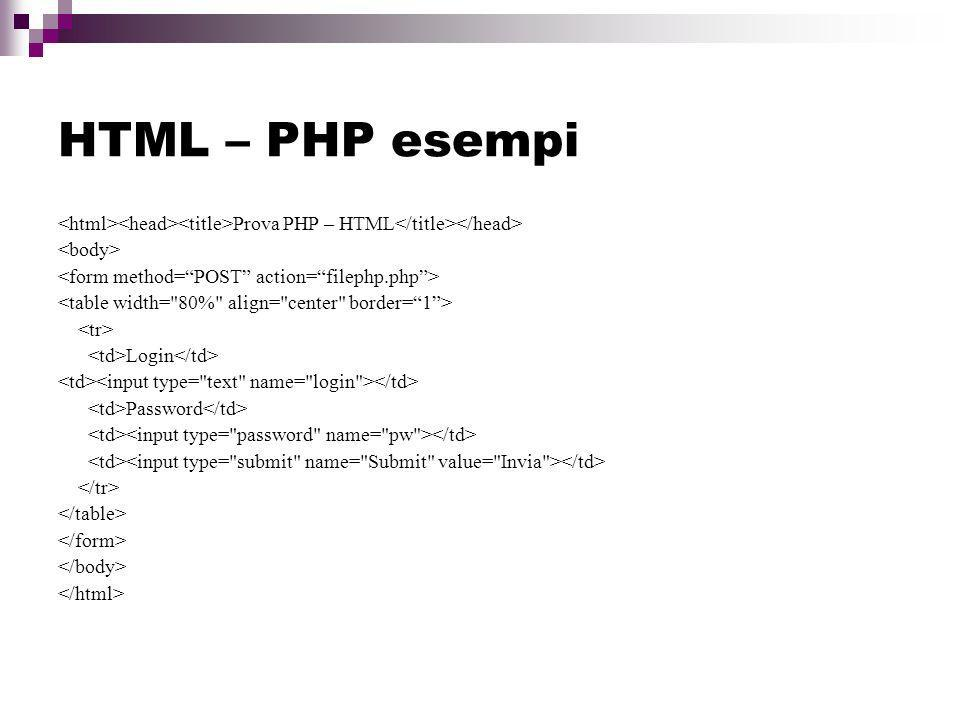 HTML – PHP esempi <html><head><title>Prova PHP – HTML</title></head> <body> <form method= POST action= filephp.php >