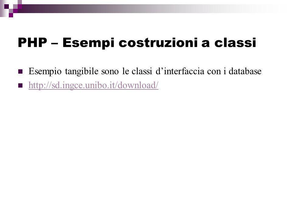 PHP – Esempi costruzioni a classi