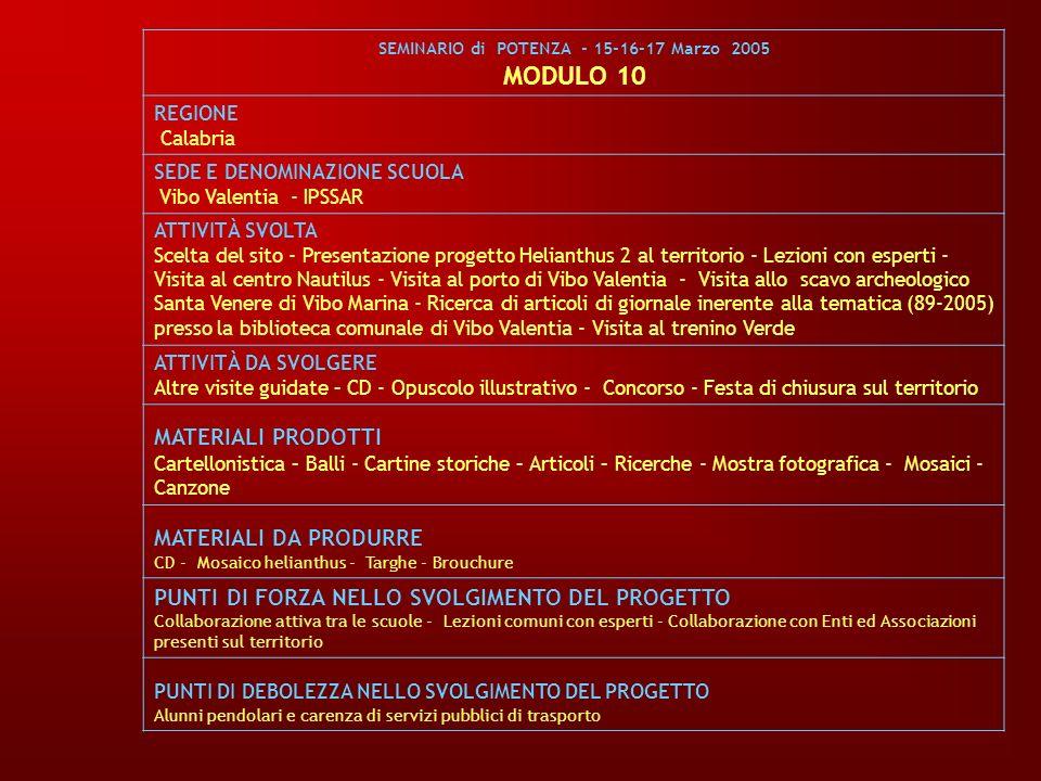 SEMINARIO di POTENZA - 15-16-17 Marzo 2005