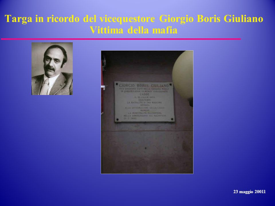 Targa in ricordo del vicequestore Giorgio Boris Giuliano Vittima della mafia