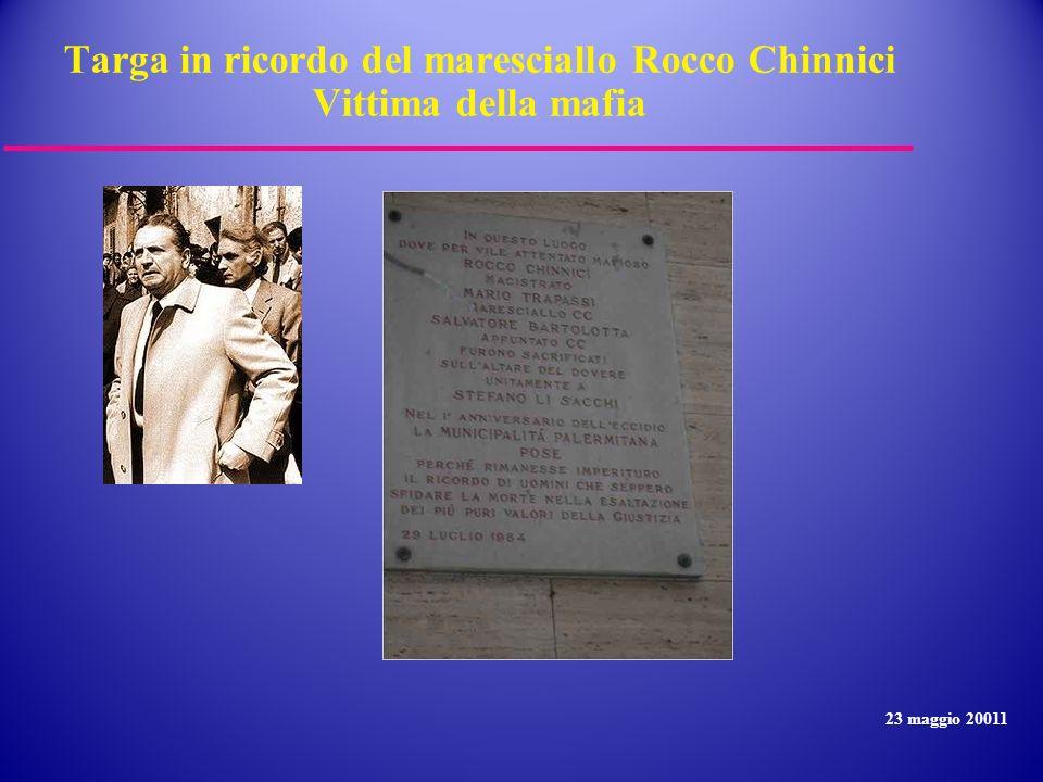 Targa in ricordo del maresciallo Rocco Chinnici Vittima della mafia