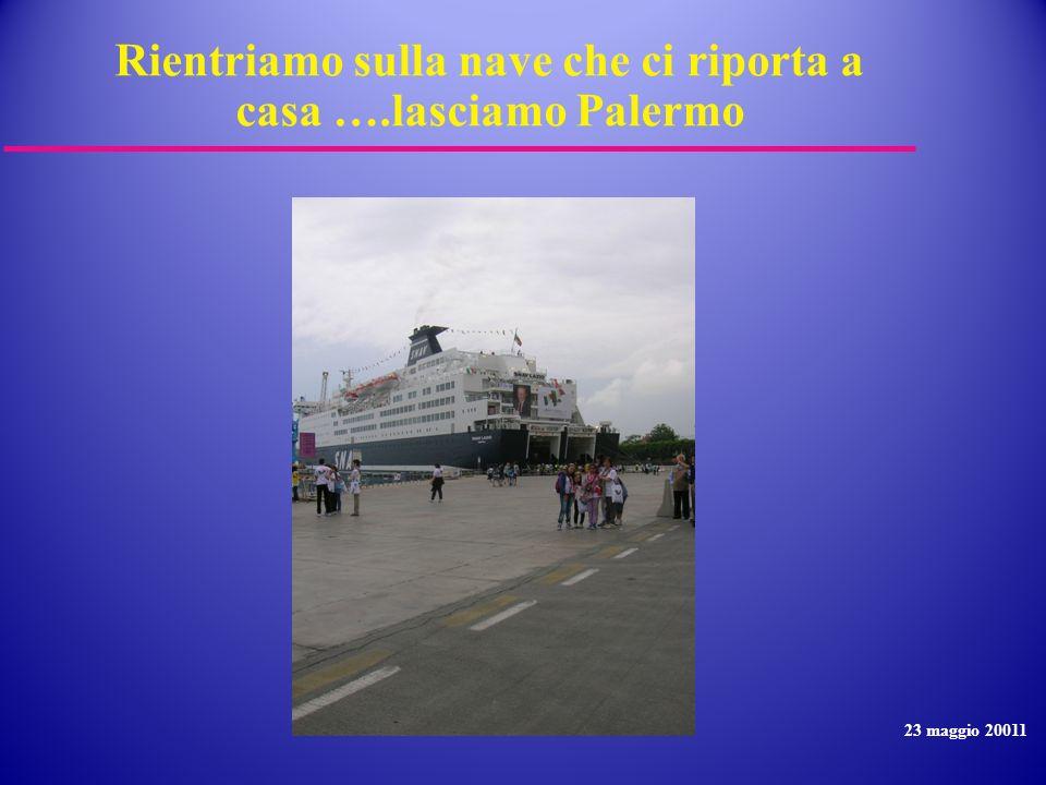Rientriamo sulla nave che ci riporta a casa ….lasciamo Palermo