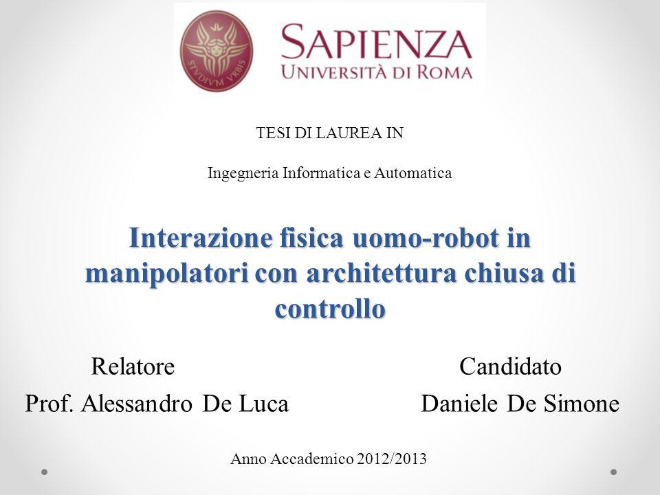 Relatore Candidato Prof. Alessandro De Luca Daniele De Simone