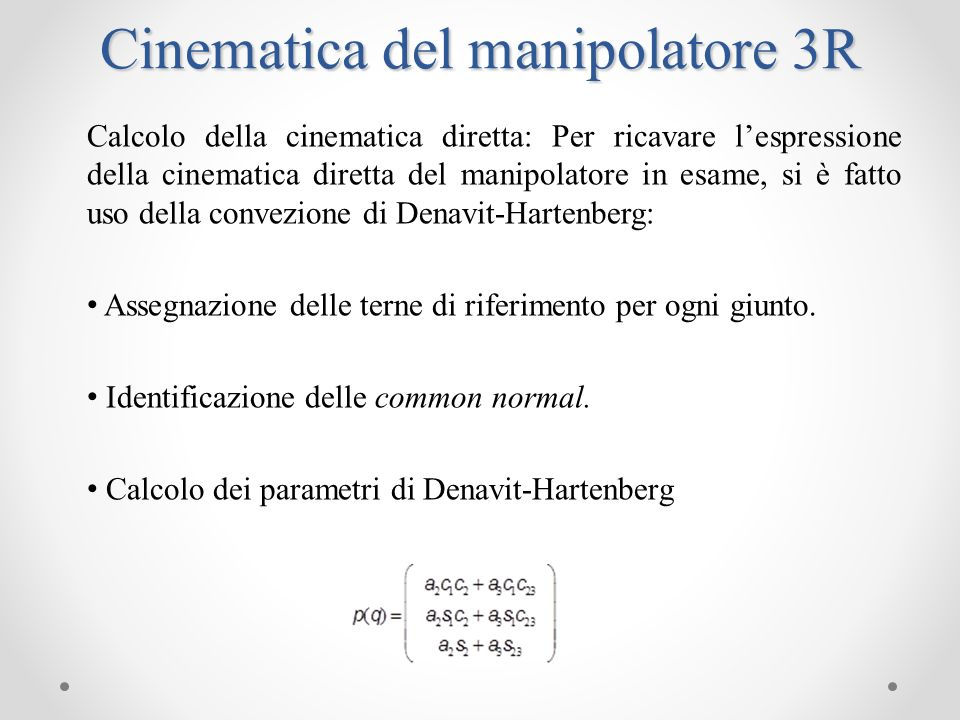 Cinematica del manipolatore 3R