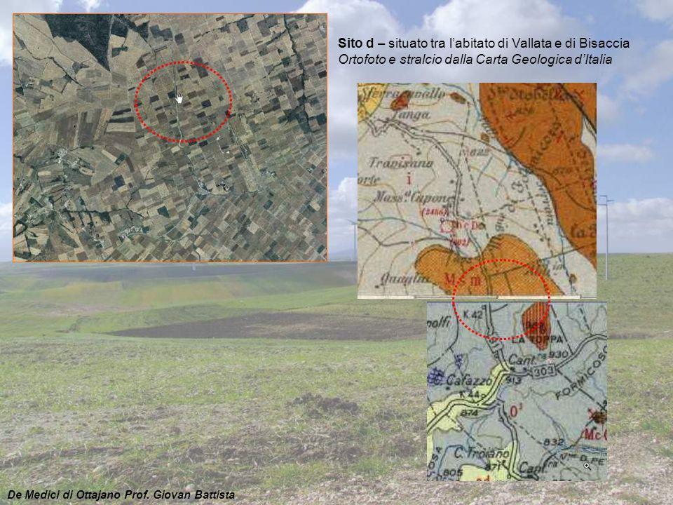 Sito d – situato tra l'abitato di Vallata e di Bisaccia Ortofoto e stralcio dalla Carta Geologica d'Italia