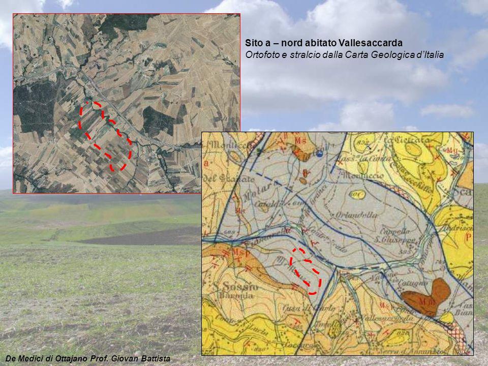 Sito a – nord abitato Vallesaccarda Ortofoto e stralcio dalla Carta Geologica d'Italia