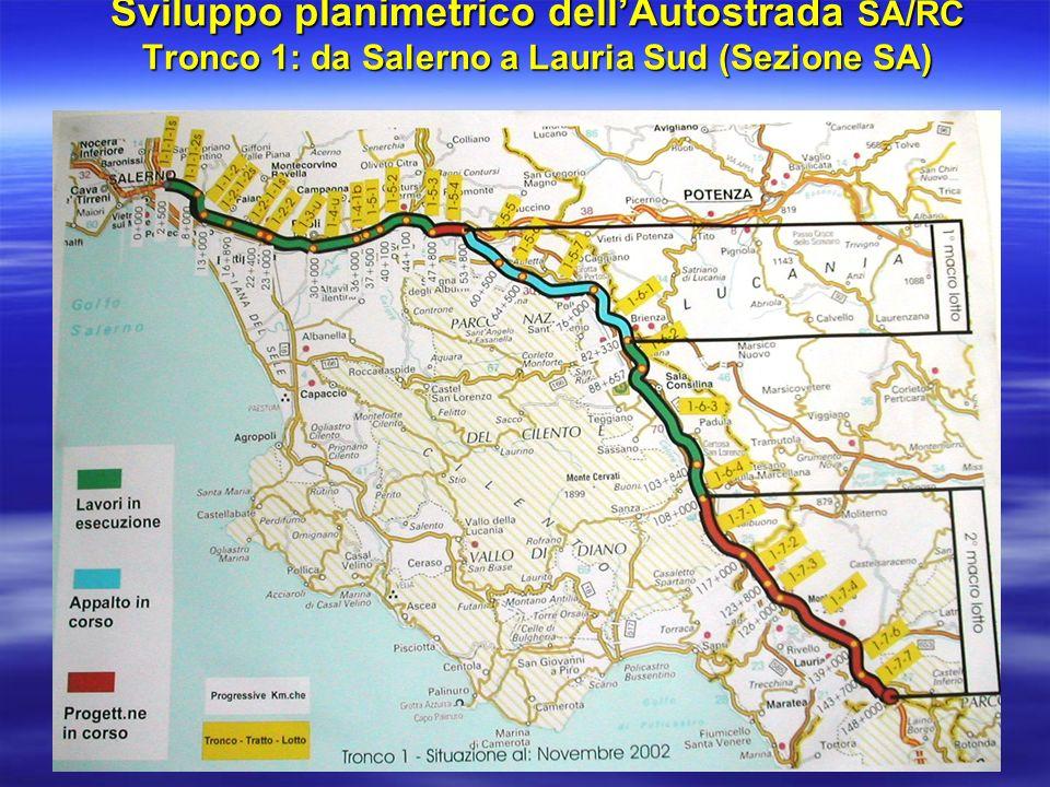 Sviluppo planimetrico dell'Autostrada SA/RC Tronco 1: da Salerno a Lauria Sud (Sezione SA)
