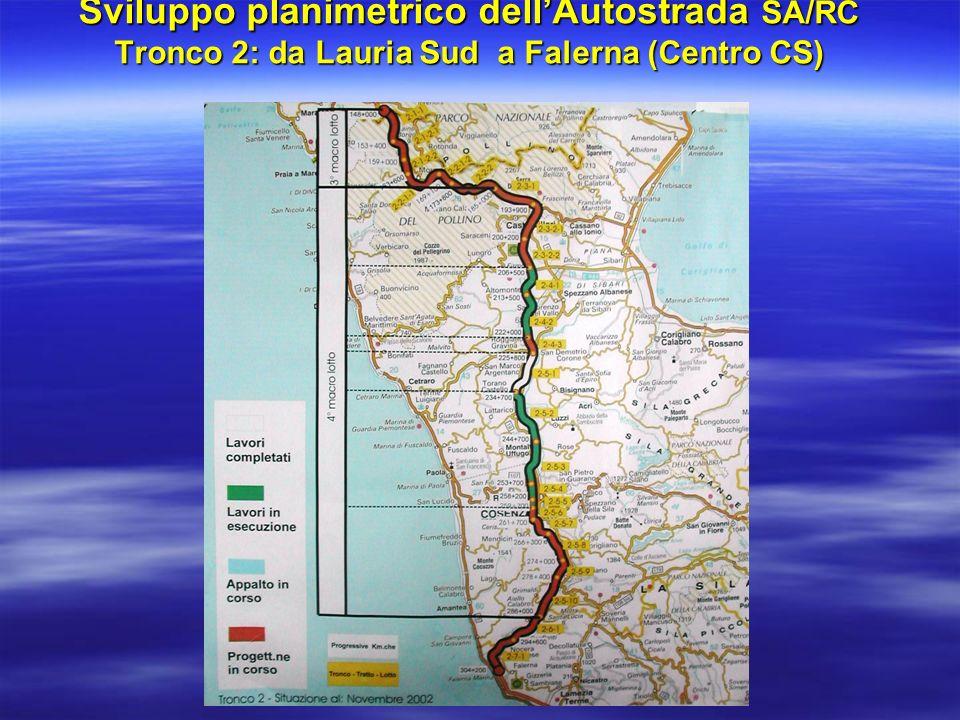 Sviluppo planimetrico dell'Autostrada SA/RC Tronco 2: da Lauria Sud a Falerna (Centro CS)