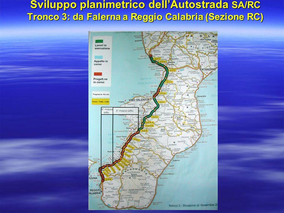 Sviluppo planimetrico dell'Autostrada SA/RC Tronco 3: da Falerna a Reggio Calabria (Sezione RC)