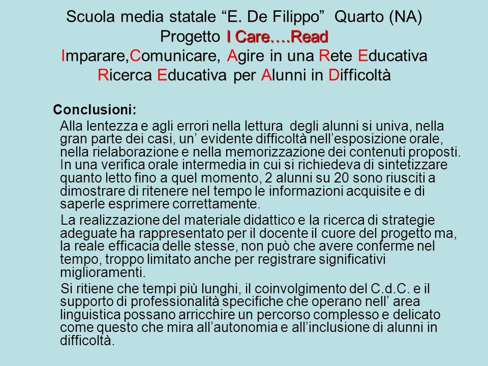 Scuola media statale E. De Filippo Quarto (NA) Progetto I Care…
