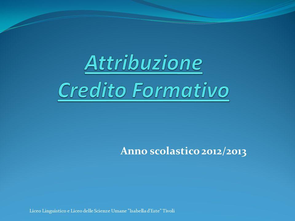 Attribuzione Credito Formativo