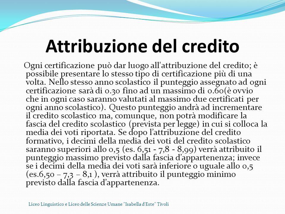 Attribuzione del credito