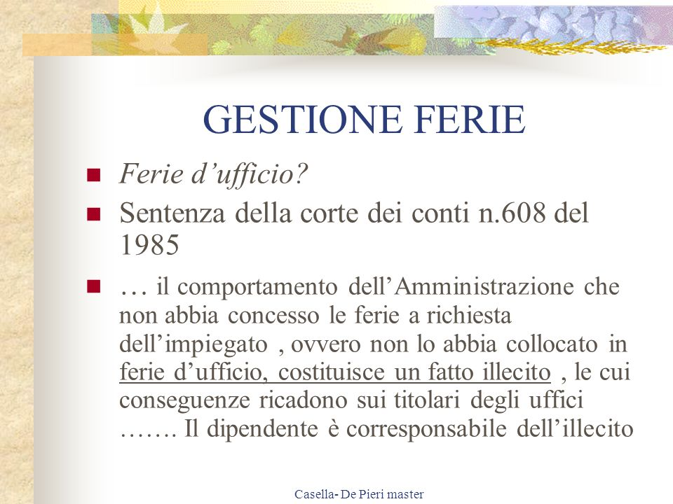 Casella- De Pieri master