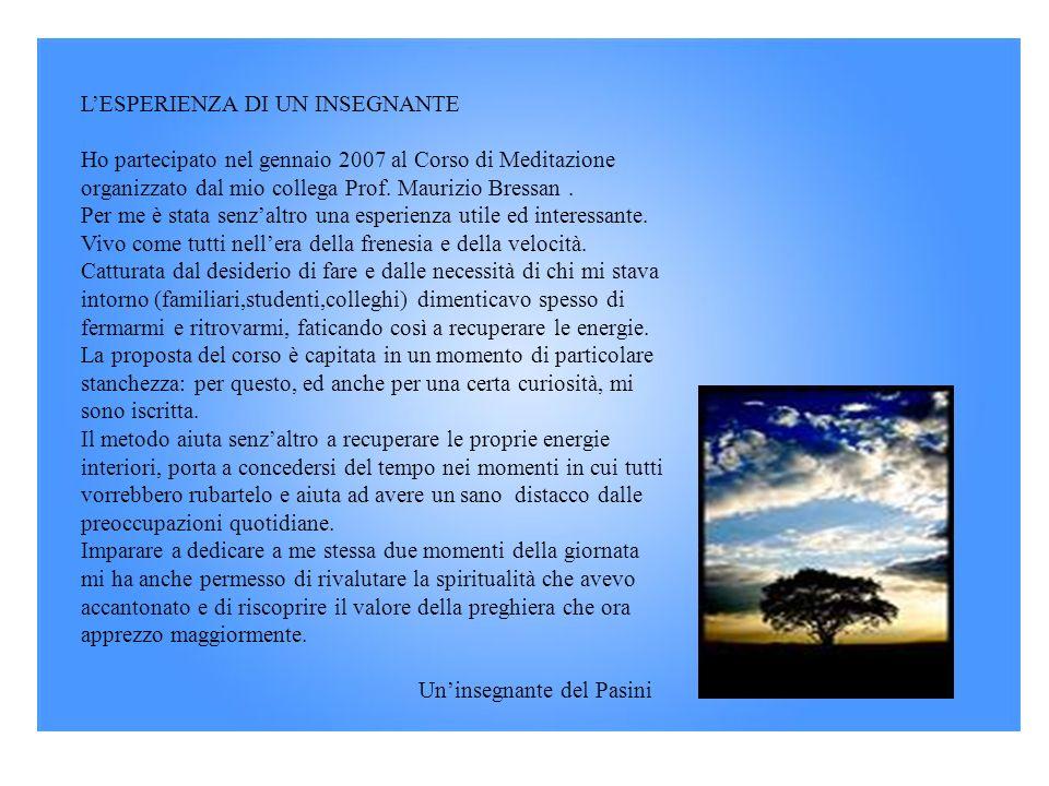 L'ESPERIENZA DI UN INSEGNANTE Ho partecipato nel gennaio 2007 al Corso di Meditazione organizzato dal mio collega Prof. Maurizio Bressan .