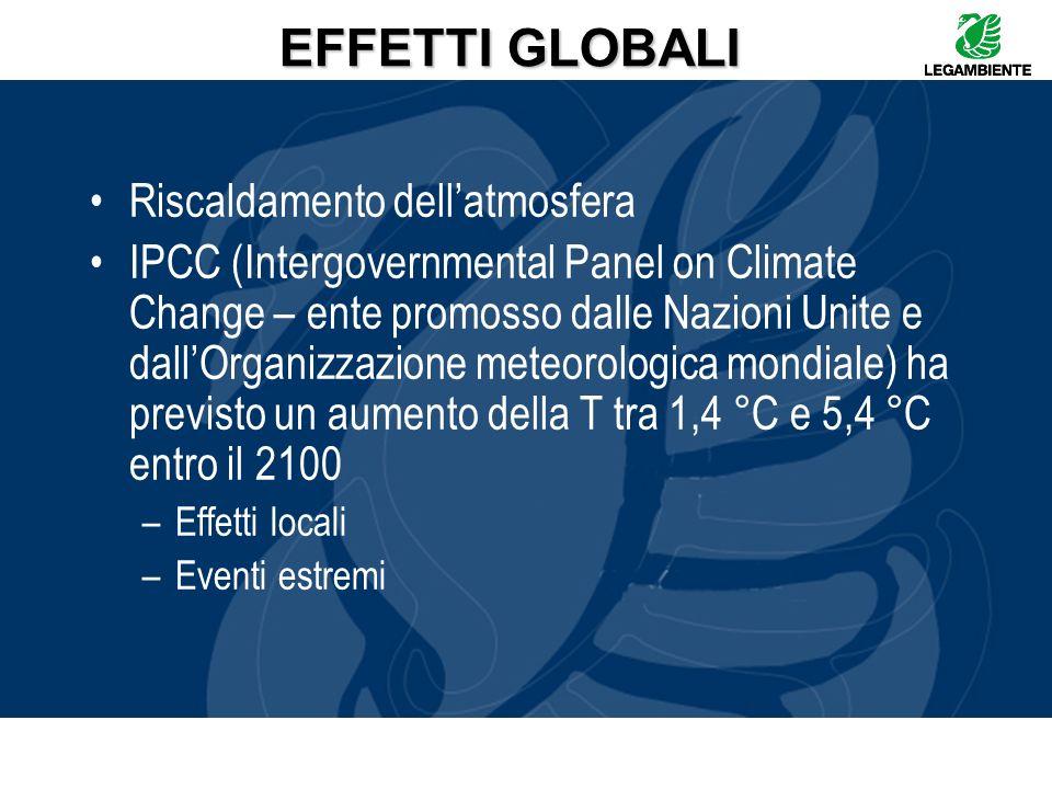 EFFETTI GLOBALI Riscaldamento dell'atmosfera