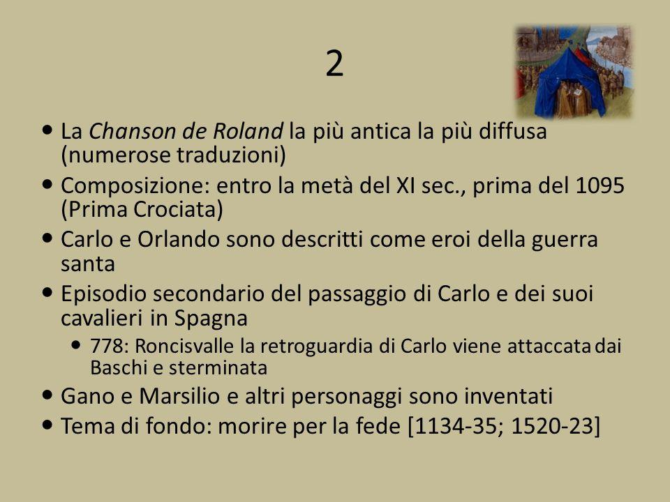 2 La Chanson de Roland la più antica la più diffusa (numerose traduzioni) Composizione: entro la metà del XI sec., prima del 1095 (Prima Crociata)