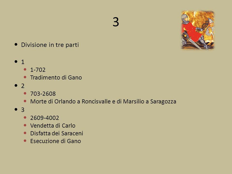 3 Divisione in tre parti 1 2 3 1-702 Tradimento di Gano 703-2608