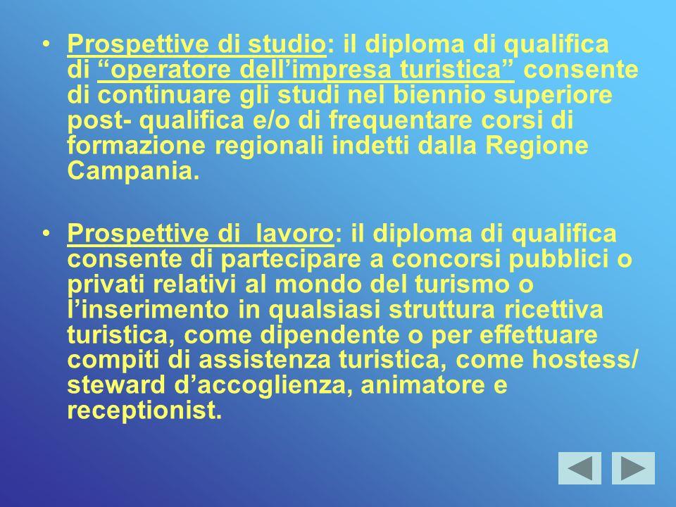 Prospettive di studio: il diploma di qualifica di operatore dell'impresa turistica consente di continuare gli studi nel biennio superiore post- qualifica e/o di frequentare corsi di formazione regionali indetti dalla Regione Campania.