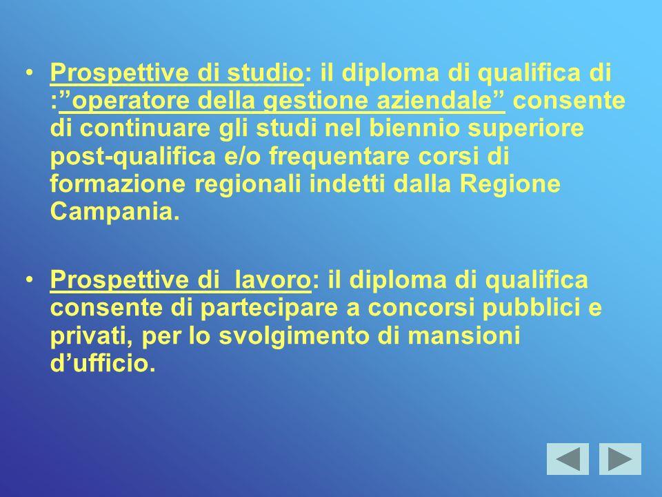 Prospettive di studio: il diploma di qualifica di : operatore della gestione aziendale consente di continuare gli studi nel biennio superiore post-qualifica e/o frequentare corsi di formazione regionali indetti dalla Regione Campania.