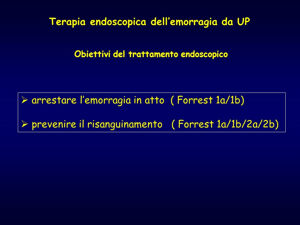 Terapia endoscopica dell'emorragia da UP