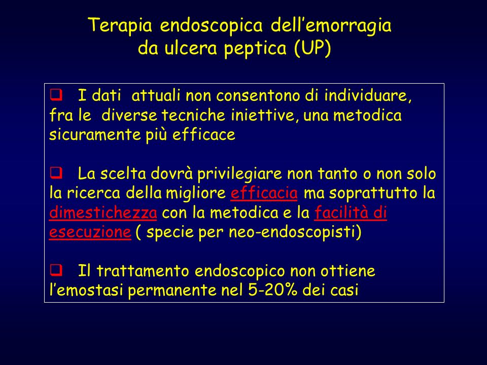 Terapia endoscopica dell'emorragia da ulcera peptica (UP)