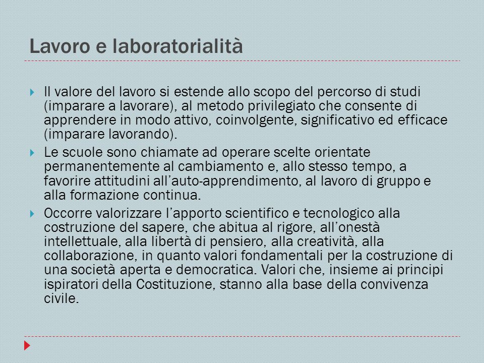 Lavoro e laboratorialità