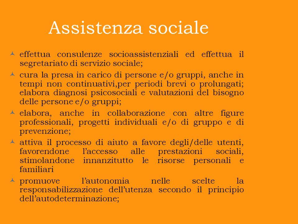 Assistenza sociale effettua consulenze socioassistenziali ed effettua il segretariato di servizio sociale;