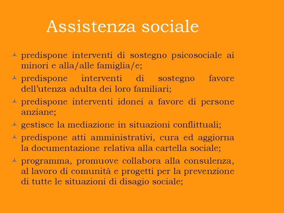 Assistenza sociale predispone interventi di sostegno psicosociale ai minori e alla/alle famiglia/e;