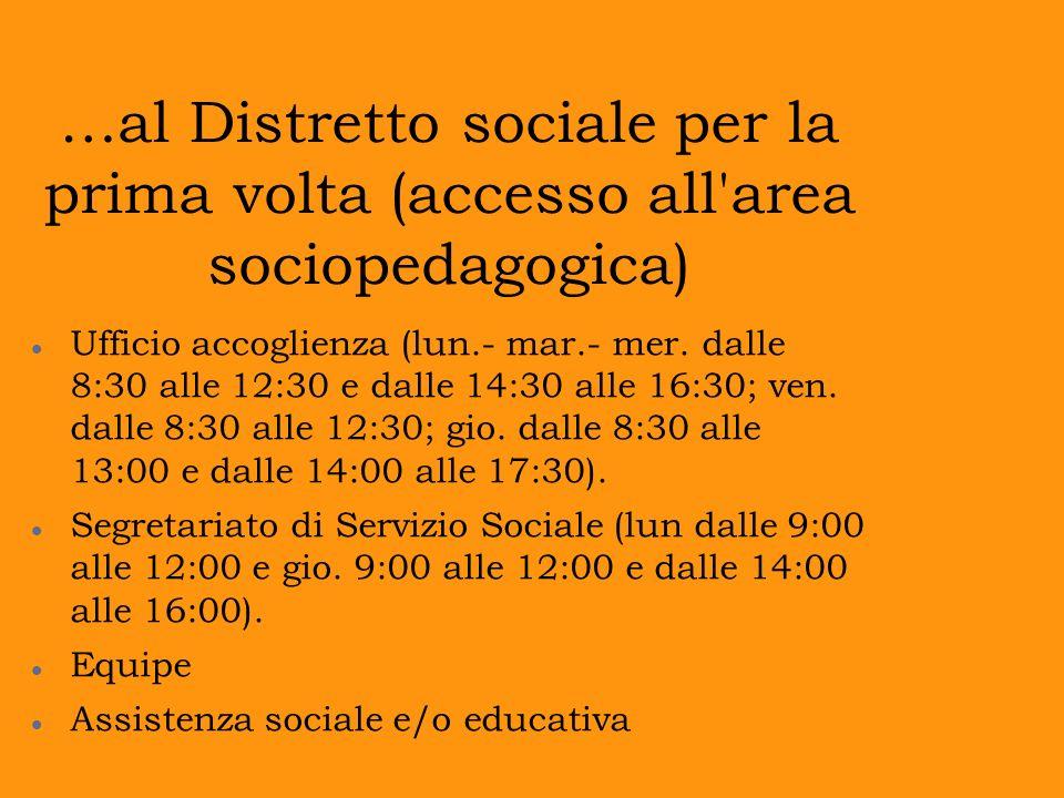 …al Distretto sociale per la prima volta (accesso all area sociopedagogica)