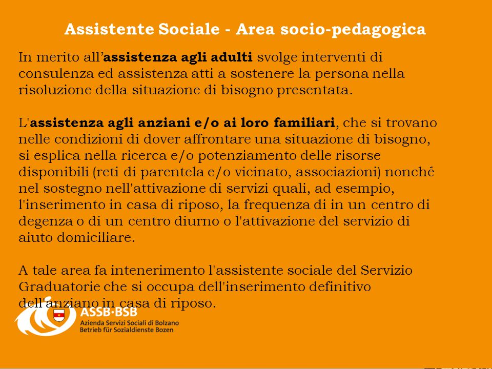 Assistente Sociale - Area socio-pedagogica