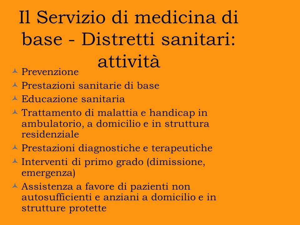 Il Servizio di medicina di base - Distretti sanitari: attività
