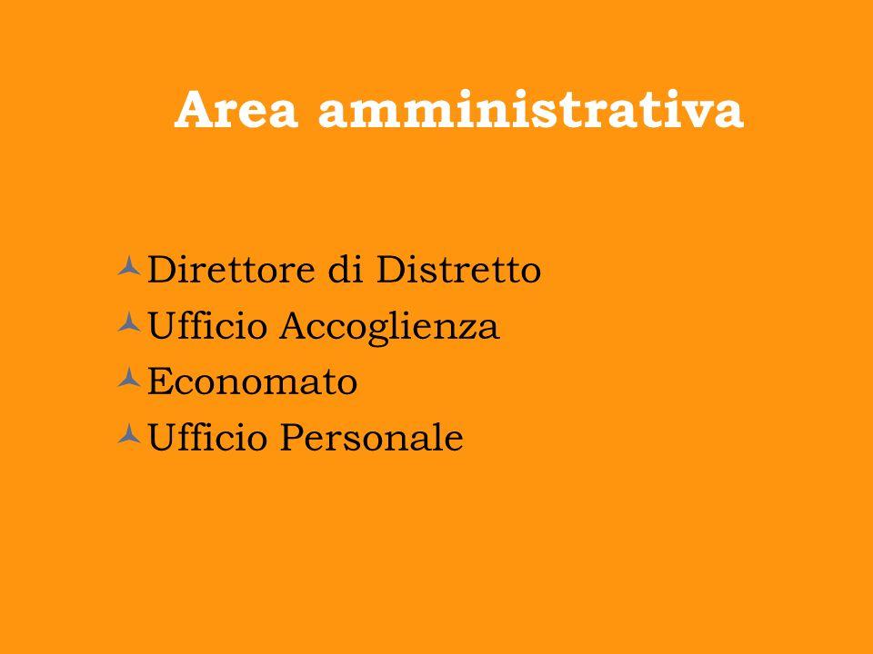 Area amministrativa Direttore di Distretto Ufficio Accoglienza