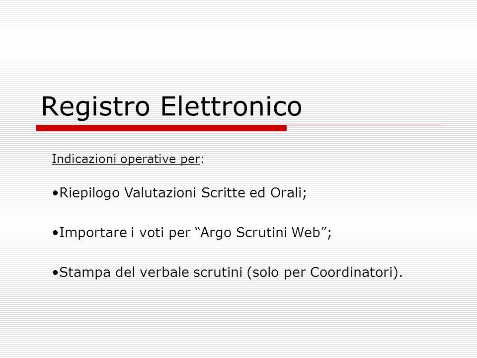 Registro Elettronico Riepilogo Valutazioni Scritte ed Orali;