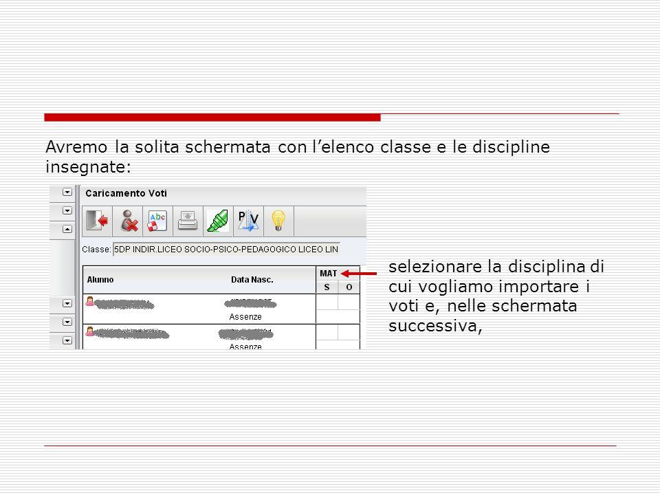 Avremo la solita schermata con l'elenco classe e le discipline insegnate: