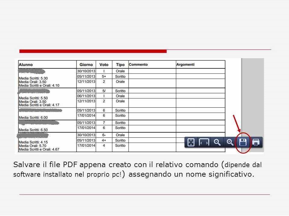 Salvare il file PDF appena creato con il relativo comando (dipende dal software installato nel proprio pc!) assegnando un nome significativo.