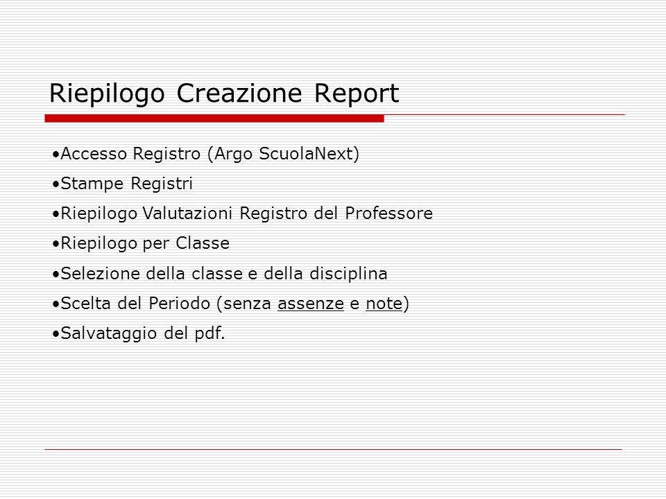 Riepilogo Creazione Report