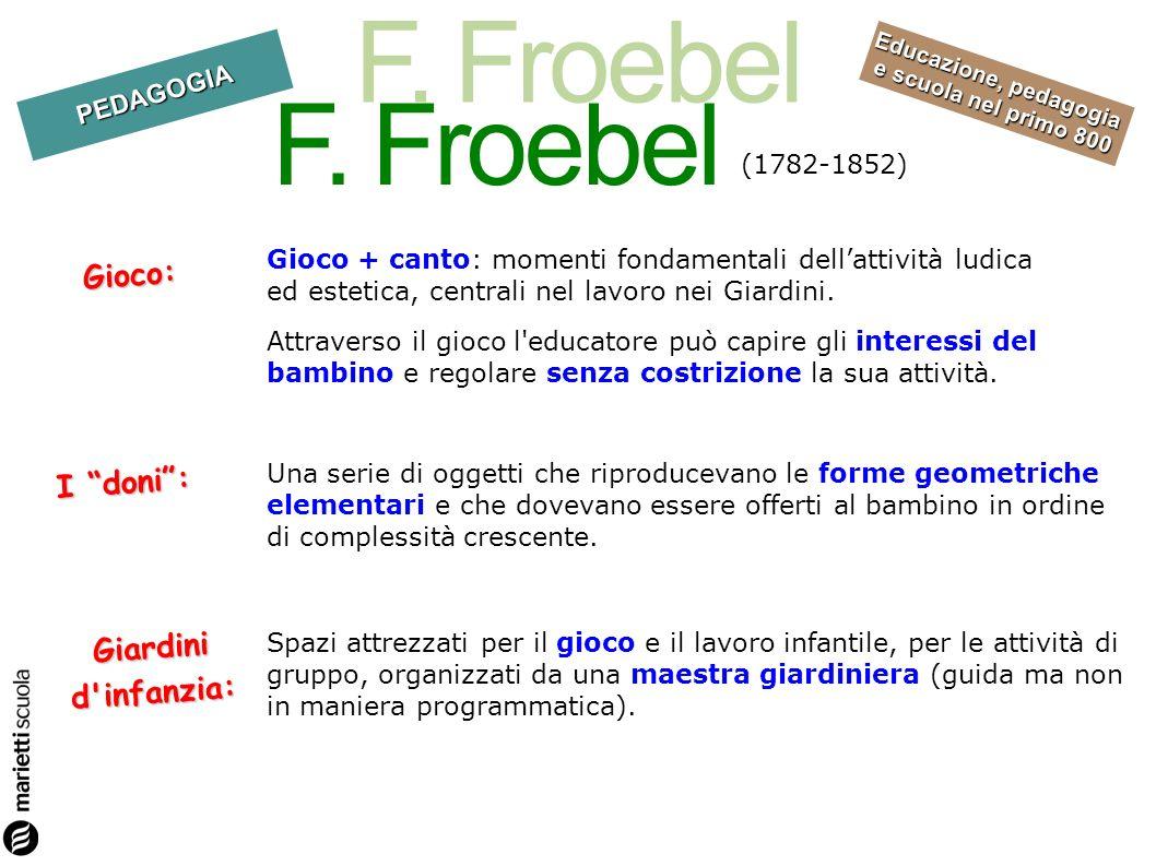 F. Froebel Gioco: I doni : Giardini d infanzia: (1782-1852)