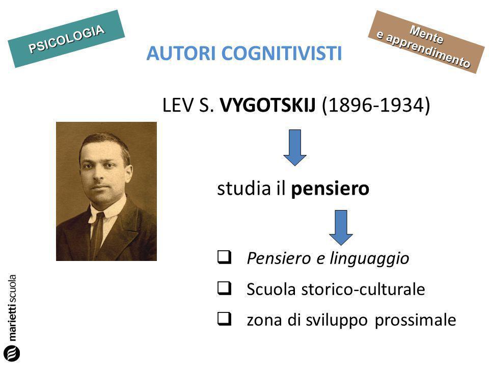 AUTORI COGNITIVISTI LEV S. VYGOTSKIJ (1896-1934) studia il pensiero