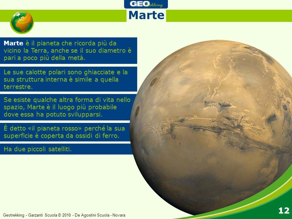 Marte Marte è il pianeta che ricorda più da vicino la Terra, anche se il suo diametro è pari a poco più della metà.