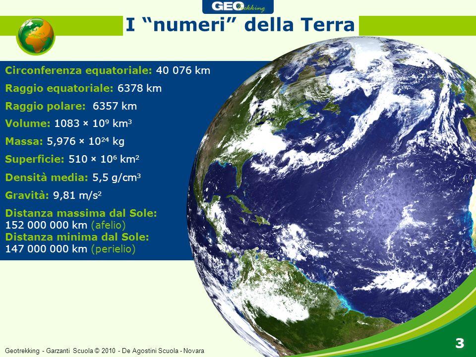 I numeri della Terra 3 Circonferenza equatoriale: 40 076 km