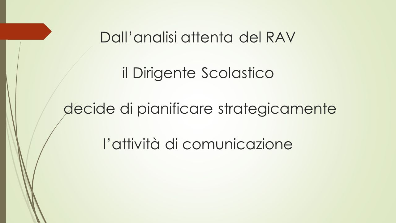Dall'analisi attenta del RAV il Dirigente Scolastico decide di pianificare strategicamente l'attività di comunicazione